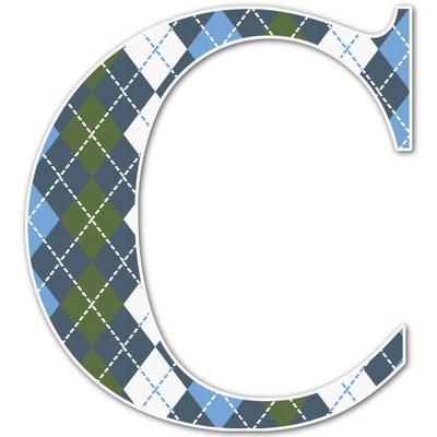 Blue Argyle Letter Decal - Custom Sizes (Personalized)