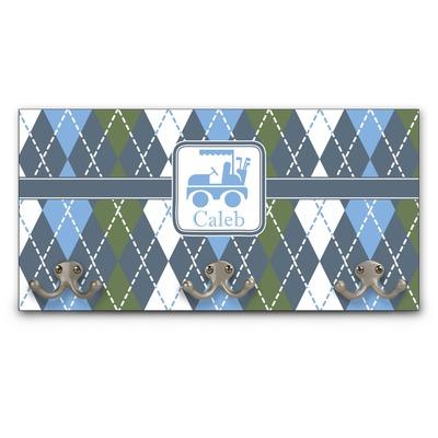 Blue Argyle Wall Mounted Coat Rack (Personalized)