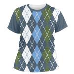 Blue Argyle Women's Crew T-Shirt (Personalized)