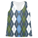 Blue Argyle Womens Racerback Tank Top (Personalized)