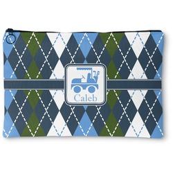 Blue Argyle Zipper Pouch (Personalized)