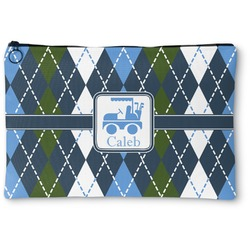 Blue Argyle Zipper Pouch (Personalized)