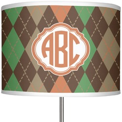 "Brown Argyle 13"" Drum Lamp Shade (Personalized)"