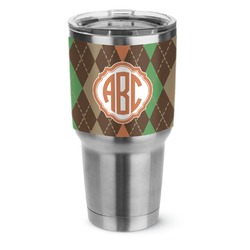 Brown Argyle Stainless Steel Tumbler - 30 oz (Personalized)