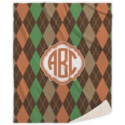 Brown Argyle Sherpa Throw Blanket (Personalized)