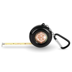 Brown Argyle Pocket Tape Measure - 6 Ft w/ Carabiner Clip (Personalized)