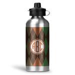 Brown Argyle Water Bottle - Aluminum - 20 oz (Personalized)