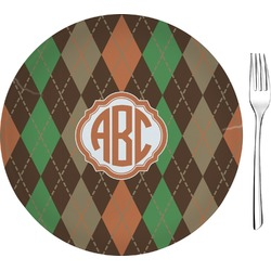 "Brown Argyle 8"" Glass Appetizer / Dessert Plates - Single or Set (Personalized)"
