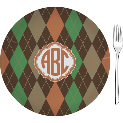 """Brown Argyle 8"""" Glass Appetizer / Dessert Plates - Single or Set (Personalized)"""