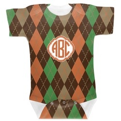 Brown Argyle Baby Bodysuit (Personalized)