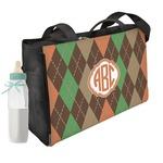 Brown Argyle Diaper Bag w/ Monogram