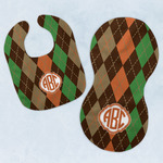 Brown Argyle Baby Bib & Burp Set w/ Monogram