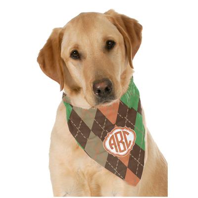 Brown Argyle Dog Bandana Scarf w/ Monogram