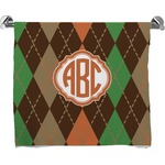 Brown Argyle Full Print Bath Towel (Personalized)