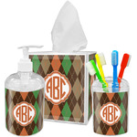 Brown Argyle Bathroom Accessories Set (Personalized)