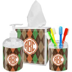 Brown Argyle Bathroom Accessories Set (Personalized)