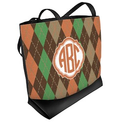 Brown Argyle Beach Tote Bag (Personalized)