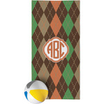 Brown Argyle Beach Towel (Personalized)