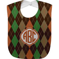 Brown Argyle Baby Bib (Personalized)