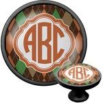 Brown Argyle Cabinet Knob (Black) (Personalized)