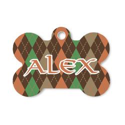 Brown Argyle Bone Shaped Dog Tag (Personalized)