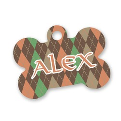 Brown Argyle Bone Shaped Dog Tag (Personalized)