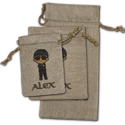 Brown Argyle Burlap Gift Bags (Personalized)