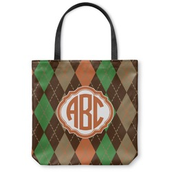 Brown Argyle Canvas Tote Bag (Personalized)