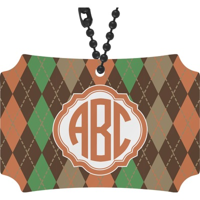 Brown Argyle Rear View Mirror Ornament (Personalized)