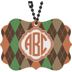 Brown Argyle Rear View Mirror Charm (Personalized)