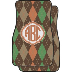 Brown Argyle Car Floor Mats (Front Seat) (Personalized)