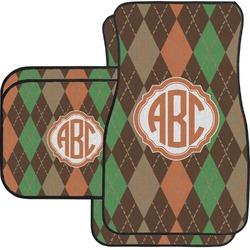 Brown Argyle Car Floor Mats Set - 2 Front & 2 Back (Personalized)
