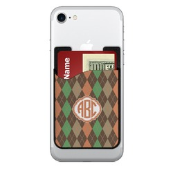 Brown Argyle 2-in-1 Cell Phone Credit Card Holder & Screen Cleaner (Personalized)