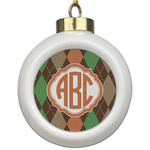 Brown Argyle Ceramic Ball Ornament (Personalized)