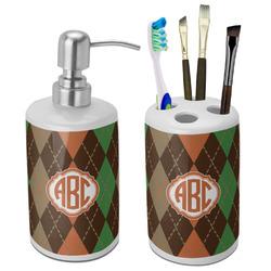Brown Argyle Bathroom Accessories Set (Ceramic) (Personalized)