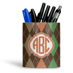 Brown Argyle Ceramic Pen Holder