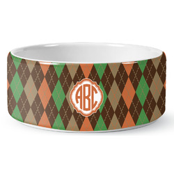 Brown Argyle Ceramic Dog Bowl (Personalized)
