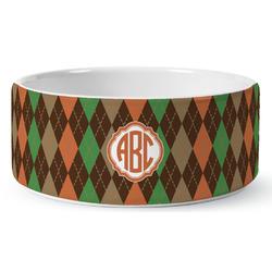 Brown Argyle Ceramic Dog Bowl (Personalized)