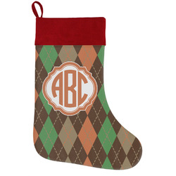 Brown Argyle Holiday Stocking w/ Monogram