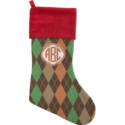 Brown Argyle Christmas Stocking (Personalized)