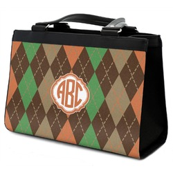 Brown Argyle Classic Tote Purse w/ Leather Trim (Personalized)