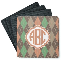 Brown Argyle 4 Square Coasters - Rubber Backed (Personalized)