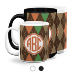 Brown Argyle Coffee Mugs (Personalized)
