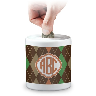 Brown Argyle Coin Bank (Personalized)