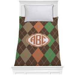 Brown Argyle Comforter - Twin (Personalized)