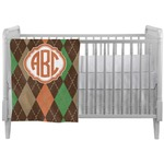 Brown Argyle Crib Comforter / Quilt (Personalized)