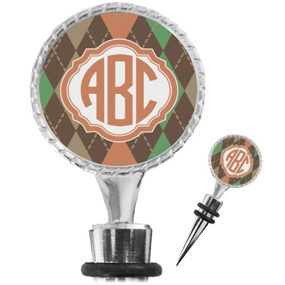 Brown Argyle Wine Bottle Stopper (Personalized)