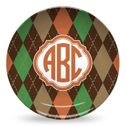 Brown Argyle Microwave Safe Plastic Plate - Composite Polymer (Personalized)