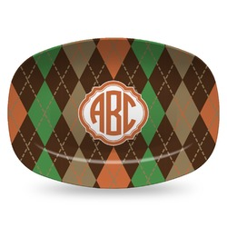 Brown Argyle Plastic Platter - Microwave & Oven Safe Composite Polymer (Personalized)