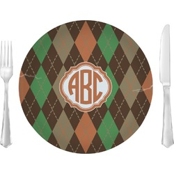 """Brown Argyle 10"""" Glass Lunch / Dinner Plates - Single or Set (Personalized)"""